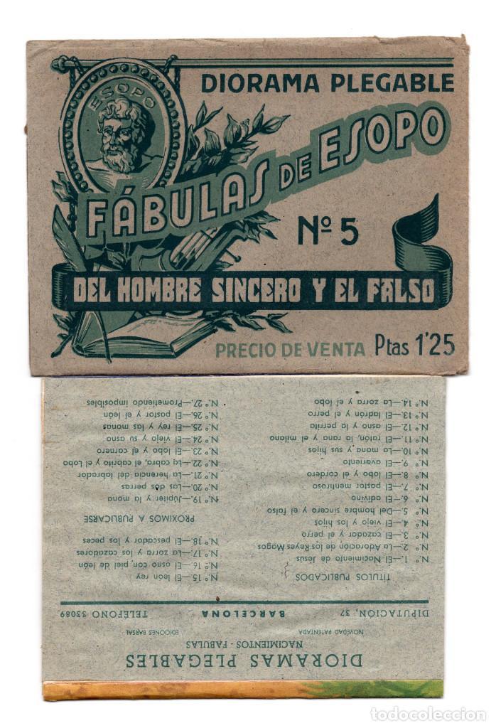 DIORAMA DESPLEGABLE , FABULAS DE ESOPO Nº 5 - EL HOMBRE SINCERO Y EL FALSO. (Coleccionismo - Cromos y Álbumes - Cromos Troquelados)