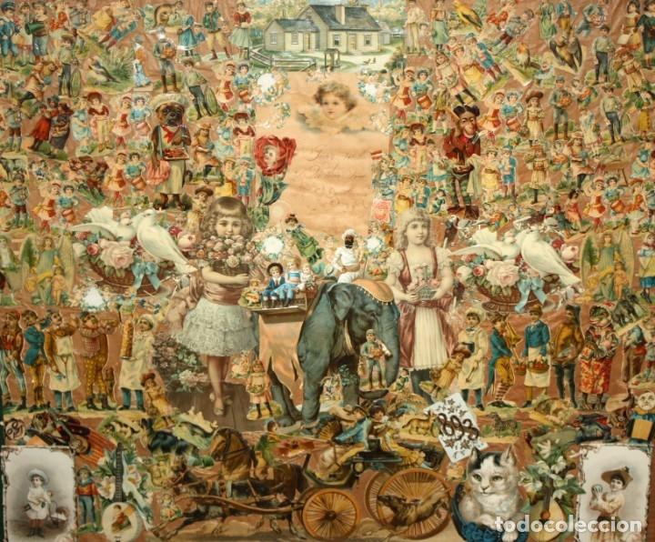 PRECIOSO CUADRO CON COMPOSICIÓN DE ANTIGUOS CROMOS TROQUELADOS. CIRCA 1900 (Coleccionismo - Cromos y Álbumes - Cromos Troquelados)