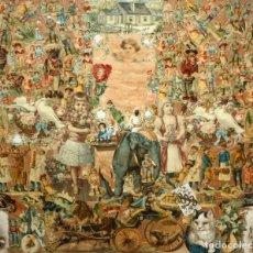 Coleccionismo Cromos troquelados antiguos: PRECIOSO CUADRO CON COMPOSICIÓN DE ANTIGUOS CROMOS TROQUELADOS. CIRCA 1900. Lote 172493440
