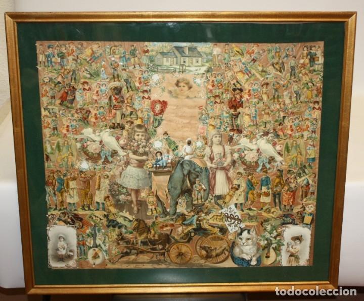 Coleccionismo Cromos troquelados antiguos: PRECIOSO CUADRO CON COMPOSICIÓN DE ANTIGUOS CROMOS TROQUELADOS. CIRCA 1900 - Foto 2 - 172493440