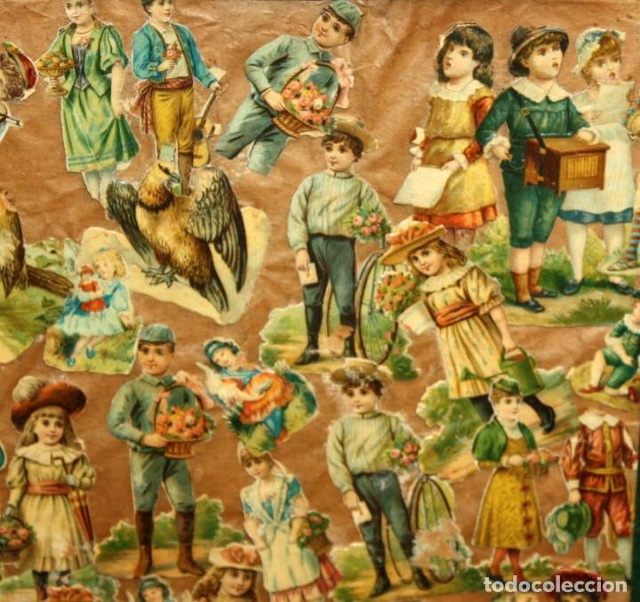 Coleccionismo Cromos troquelados antiguos: PRECIOSO CUADRO CON COMPOSICIÓN DE ANTIGUOS CROMOS TROQUELADOS. CIRCA 1900 - Foto 3 - 172493440