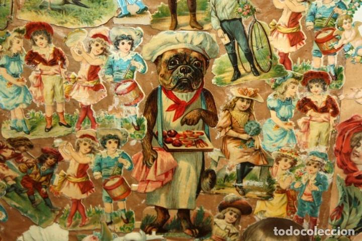 Coleccionismo Cromos troquelados antiguos: PRECIOSO CUADRO CON COMPOSICIÓN DE ANTIGUOS CROMOS TROQUELADOS. CIRCA 1900 - Foto 4 - 172493440