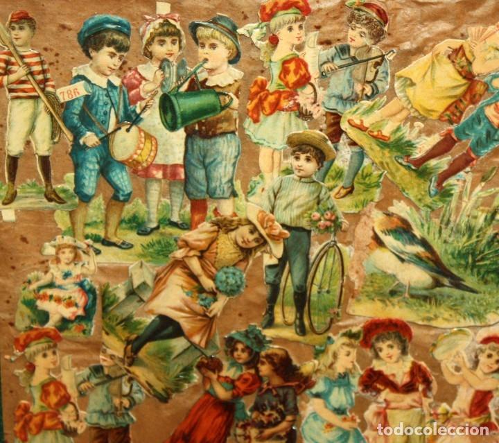 Coleccionismo Cromos troquelados antiguos: PRECIOSO CUADRO CON COMPOSICIÓN DE ANTIGUOS CROMOS TROQUELADOS. CIRCA 1900 - Foto 5 - 172493440