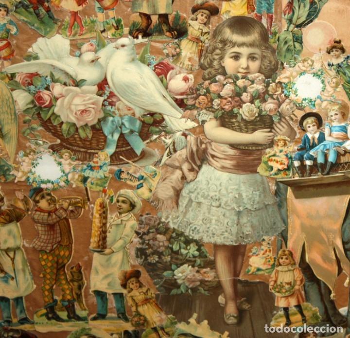 Coleccionismo Cromos troquelados antiguos: PRECIOSO CUADRO CON COMPOSICIÓN DE ANTIGUOS CROMOS TROQUELADOS. CIRCA 1900 - Foto 7 - 172493440