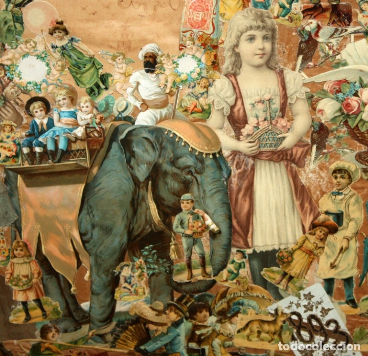 Coleccionismo Cromos troquelados antiguos: PRECIOSO CUADRO CON COMPOSICIÓN DE ANTIGUOS CROMOS TROQUELADOS. CIRCA 1900 - Foto 8 - 172493440
