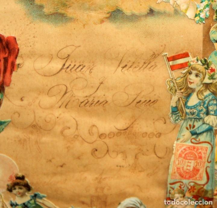 Coleccionismo Cromos troquelados antiguos: PRECIOSO CUADRO CON COMPOSICIÓN DE ANTIGUOS CROMOS TROQUELADOS. CIRCA 1900 - Foto 13 - 172493440