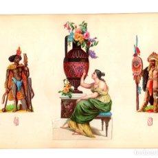 Coleccionismo Cromos troquelados antiguos: LAMINA CROMOS TROQUELADOS. SIGLO XIX. Lote 173784500