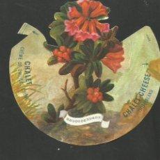 Coleccionismo Cromos troquelados antiguos: RHODODENDRON-Nº 1-FLORA ALPINA-CROMO PUBLICIDAD QUESO CHALET CHEESE-VER REVERSO-(V-17.501). Lote 175446093