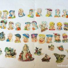 Coleccionismo Cromos troquelados antiguos: COLECCION CROMOS TROQUELADOS ANTIGUOS BUSTOS DE PERSONAJES Y VARIADOS LOTE DE 43 CROMOS. Lote 175891342