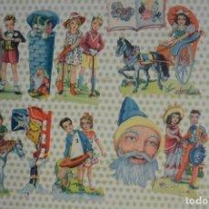 Coleccionismo Cromos troquelados antiguos: ANTIGUOS CROMOS TROQUELADOS PAREJAS NIÑOS FB 131, MUCHO BRILLO Y RELIEVE. Lote 178182973