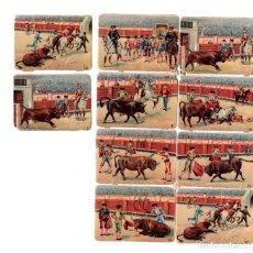 Coleccionismo Cromos troquelados antiguos: LOTE DE 10 CROMOS TROQUELADOS CON ESCENAS TAURINAS.. Lote 179945757