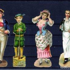 Coleccionismo Cromos troquelados antiguos: CUATRO CROMOS TROQUELADOS SIN PUBLICIDAD .. Lote 180325265
