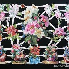 Coleccionismo Cromos troquelados antiguos: RR. LAMINA DE CROMOS TROQUELADOS CON BRILLO Y RELIEVE EF - 7287 - FLORES. Lote 186357457
