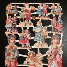 Coleccionismo Cromos troquelados antiguos: RR. LAMINA DE CROMOS TROQUELADOS CON BRILLO Y RELIEVE EF - 7291 - NIÑOS VICTORIANOS. Lote 186360856