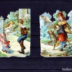 Coleccionismo Cromos troquelados antiguos: DOS CROMOS TROQUELADOS-CON PUBLICIDAD POR EL REVERSO-FIRMA COMERCIAL DE PARIS (FRANCIA).. Lote 191335322