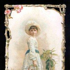 Coleccionismo Cromos troquelados antiguos: CROMO TROQUELADO: NIÑA CON REGADORA (8 X 12 CMS). Lote 191572518