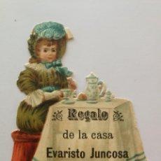 Coleccionismo Cromos troquelados antiguos: NIÑA EN MESA CON DESAYUNO (I) - CROMO TROQUELADO CHOCOLATES JUNCOSA 6,5 X 7,8 CM. Lote 192047515