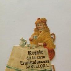 Coleccionismo Cromos troquelados antiguos: NIÑA EN MESA CON DESAYUNO (II) - CROMO TROQUELADO CHOCOLATES JUNCOSA 6,8 X 8 CM. Lote 192047646
