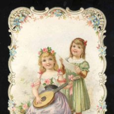 Coleccionismo Cromos troquelados antiguos: CROMO TROQUELADO: NIÑAS, INSTRUMENTO MUSICAL (8 X 11,5 CMS). Lote 192053493