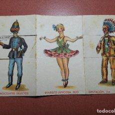 Coleccionismo Cromos troquelados antiguos: CROMO DESPLEGABLE CONVERTIBLE CHOCOLATES SELECTOS EVARISTO JUNCOSA HIJO BARCELONA. Lote 192489647