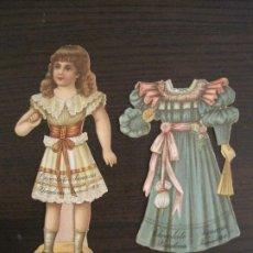 Coleccionismo Cromos troquelados antiguos: MUÑECA CON VESTIDO-CHOCOLATES JUNCOSA-SERIE III-CROMO TROQUELADO-VER FOTOS-(V-19.053). Lote 194331260