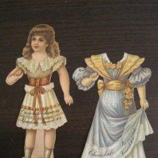 Coleccionismo Cromos troquelados antiguos: MUÑECA CON VESTIDO-CHOCOLATES JUNCOSA-SERIE III-CROMO TROQUELADO-VER FOTOS-(V-19.057). Lote 194331562