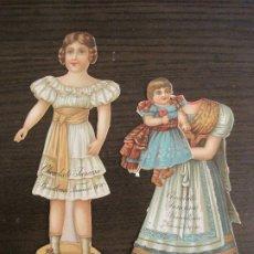 Coleccionismo Cromos troquelados antiguos: MUÑECA CON VESTIDO-CHOCOLATES JUNCOSA-SERIE X Nº1 & 2-CROMO TROQUELADO-VER FOTOS-(V-19.058). Lote 194331717