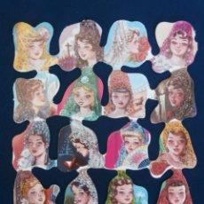 Coleccionismo Cromos troquelados antiguos: LAMINA CROMOS TROQUELADOS ESPAÑOLES FHER 25, SEÑORITAS. Lote 195517876