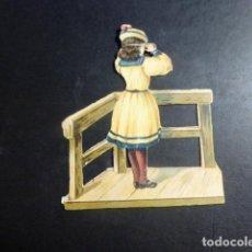 Coleccionismo Cromos troquelados antiguos: NIÑA EN BALCON CROMO TROQUELADO SIGLO XIX. Lote 209680708