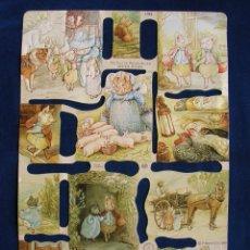 Coleccionismo Cromos troquelados antiguos: LAMINA CROMOS TROQUELADOS MLP- 1784. BEATRIX POTTER. RELIEVE Y BRILLO¡¡¡ESCASA¡¡. Lote 206583401