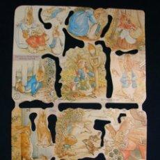 Coleccionismo Cromos troquelados antiguos: LAMINA CROMOS TROQUELADOS MLP- 1789. BEATRIX POTTER. RELIEVE Y BRILLO¡¡¡ESCASA¡¡. Lote 206583491