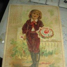 Coleccionismo Cromos troquelados antiguos: ANTIGUO CROMO SIGLO XIX FARMACIA SAN ANTONIO DROGUERIA VALENCIA MERCADO 70 HIERRO- CALVO REMEDIO. Lote 207996101