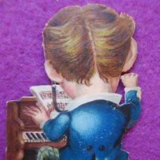 Coleccionismo Cromos troquelados antiguos: CROMO MUY ANTIGUO SIGLO XIX TROQUELADO HOMBRE PIANO VER FOTO TRASERA CHOCOLATE MAÑER C37. Lote 210718771