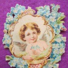Coleccionismo Cromos troquelados antiguos: CROMO MUY ANTIGUO SIGLO XIX TROQUELADO ANGEL VER FOTO TRASERA CHOCOLATE JUNCOSA BARCELONA C42. Lote 210722000