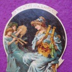 Coleccionismo Cromos troquelados antiguos: CROMO MUY ANTIGUO SIGLO XIX TROQUELADO CERTAMEN MUSICAL 3 MUJERES VER FOTO TRASERA LAYANA C50. Lote 210726240