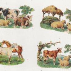 Coleccionismo Cromos troquelados antiguos: LOTE DE 4 CROMOS TROQUELADOS (7X4,5) SIGLO XIX-XX. Lote 210959491
