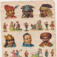 Coleccionismo Cromos troquelados antiguos: LOTE DE 20 CROMOS TROQUELADOS PEGADOS EN HOJA DE CUADERNO (4 Y 3 CMS.) SIGLO XIX-XX. Lote 210959525
