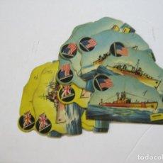 Coleccionismo Cromos troquelados antiguos: LOTE DE 15 CROMOS TROQUELADOS DE BARCOS DE GUERRA-EL JUEGO DE LAS BATALLAS NAVALES-VER FOTOS-(K-23). Lote 216386376