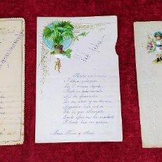 Coleccionismo Cromos troquelados antiguos: 3 FELICITACIONES MANUSCRITAS. CON CROMOS RECORTABLES. ESPAÑA. SIGLO XIX. Lote 219064197