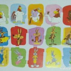 Coleccionismo Cromos troquelados antiguos: GIN. LÁMINA DE CROMOS TROQUELADOS ESPAÑOLES EDIVAS WARNER BROS - CLAUDIO, COYOTE, HONEY BUNNY. Lote 233947380