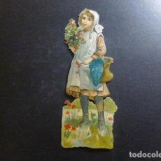 Coleccionismo Cromos troquelados antiguos: NIÑA CON FLORES CROMO TROQUELADO SIGLO XIX. Lote 234518015