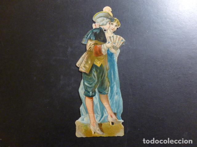 PAREJA ELEGANTE CROMO TROQUELADO SIGLO XIX (Coleccionismo - Cromos y Álbumes - Cromos Troquelados)