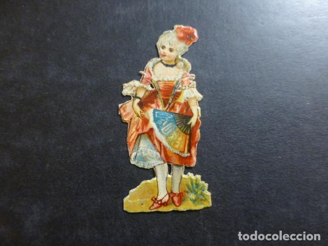 DAMA CON ABANICO CROMO TROQUELADO SIGLO XIX (Coleccionismo - Cromos y Álbumes - Cromos Troquelados)