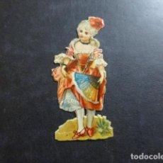 Coleccionismo Cromos troquelados antiguos: DAMA CON ABANICO CROMO TROQUELADO SIGLO XIX. Lote 234519315