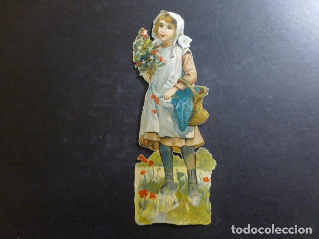 NIÑA CON FLORES CROMO TROQUELADO SIGLO XIX (Coleccionismo - Cromos y Álbumes - Cromos Troquelados)