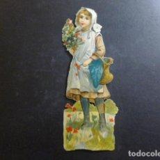Coleccionismo Cromos troquelados antiguos: NIÑA CON FLORES CROMO TROQUELADO SIGLO XIX. Lote 234520435