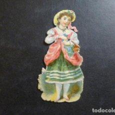 Coleccionismo Cromos troquelados antiguos: MUJER CON FLORES CROMO TROQUELADO SIGLO XIX. Lote 234521130