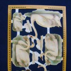 Coleccionismo Cromos troquelados antiguos: LAMINA CROMOS TROQUELADOS MLP- A132.CISNES. RELIEVE Y BRILLO.. Lote 288105123