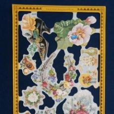 Coleccionismo Cromos troquelados antiguos: LAMINA CROMOS TROQUELADOS MLP- A115. FLORES. RELIEVE Y BRILLO. ESCASA. Lote 245721070