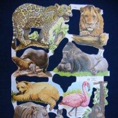 Coleccionismo Cromos troquelados antiguos: LAMINA CROMOS TROQUELADOS MLP- 1571, ANIMALES. RELIEVE Y BRILLO. Lote 246563335